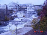 What awaterfall in the middle of town, Maine