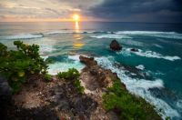 Indonesia Coastline At Sunset