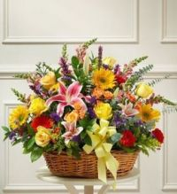 Gift Basket.... Glorious ,happy mix of flowers.