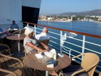 reading on the lido deck