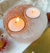 Selenite Yin Yang Candle Holder in Henna Prayer