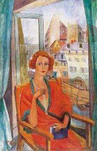 Walleshausen Zsigmond,   Lady with pearl necklace sitting at the window , (1927).