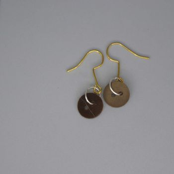 brown button earrings extra small