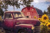 Red Chevrolet in Autumn by Debra and Dave Vanderlaan