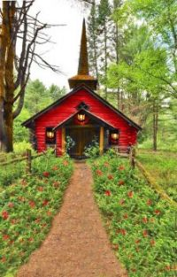 Log Cabin Chapel in the Forest