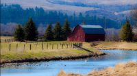 Red Barn By The Creek