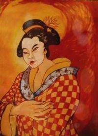 Geisha .  ( ink brushes on paper )
