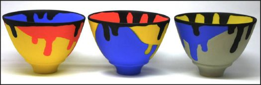 Pottery Bowls in Primary Colors