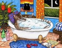 cat in the bath by Lucie Dumas