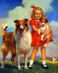 mabel rollins...girl-with-collie-dog-puppy