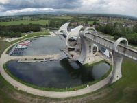 Falkirk Wheel, Scotland - lifting a barge to the upper level