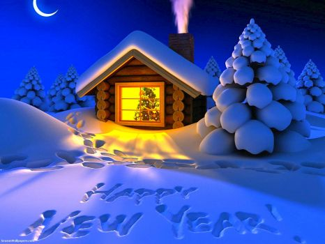 HAPPY NEW YEAR - CABIN IN THE SNOW