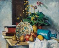 Leon Kroll (American, 1884–1975), Still Life with Fruit, Flower and Vase (1916)
