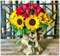 Pretty Bouquet of Yellow Sunflowers and Red Roses