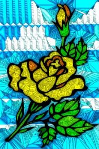 STAINED GLASS FLOWER B72