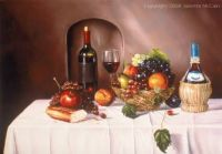 still life with summer fruit and wine