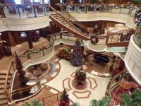 Looking down at the Atrium of  the ship Queen Victoria