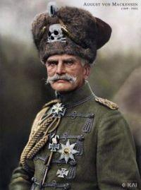 World War I, German Hussar. Colorized photo