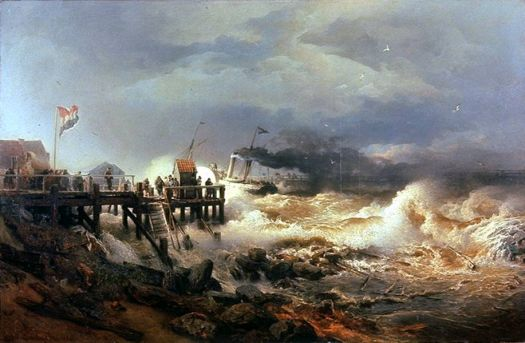 Departure of a Steamer in a Storm, 1870 by Andreas Achenbach