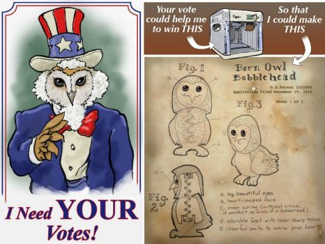 VacaDude VOTE Poster and Bobblehead Owlet