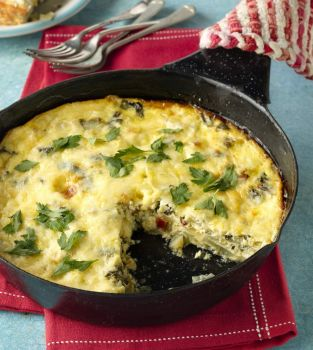 Green Apple, Cheese & Chard Baked Omelet