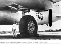 Closeup of the Main Landing Gear B-36 with, as the Ar Force noted, a Standard Human for scale.