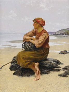 "August Hagborg, ""Seated Oyster Picker at the Beach"""