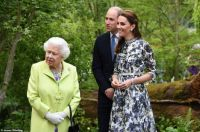 Our Dear Queen with her Grandchildren at the Chelsea flower show in London
