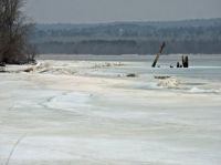 Sign of spring -- lake ice breaking up