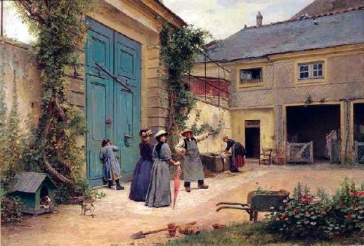 Louis Emile Adan - Damsels Visit the Farm, 1890