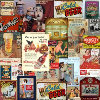 Antique beer ads collage medium