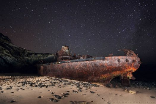 Shipwreck on a Beach in Portugal