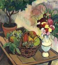 Suzanne Valadon (French, 1865–1938), Still Life with Flower Bouquet and Fruit Basket (1920)