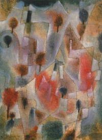 Paul Klee - Enchanted Garden - Landschap met bomen blauw en rood, 1920