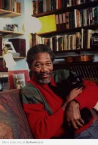 MORGAN FREEMAN WITH HIS BLACK CAT...