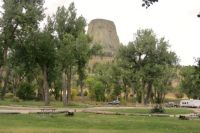 Devils Tower Looms Above The Campground