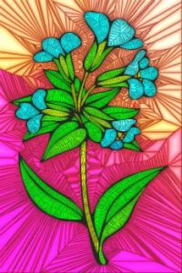 STAINED GLASS FLOWER B68