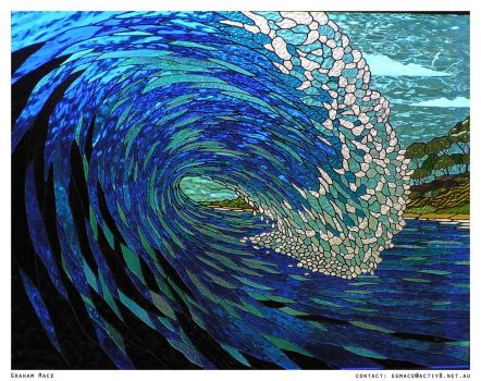 Barrelling Wave in stained glass