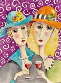 Art by - Penny Day Thompson   'With our Wine'