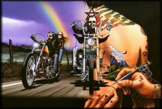 Motercycle art By David Mann