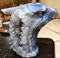 Carved Blue Agate with Quartz Crystal Geode Eagle Head