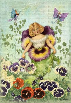 Fairy with Pansies