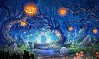 Halloween Haunted Forest Pumpkin Head Graveyard