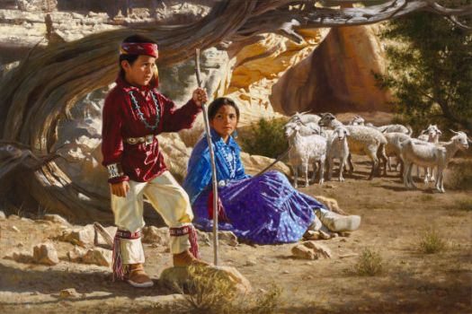 Navajo Mother and Son watch the Flock