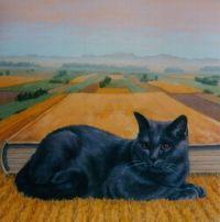 """Portrait Of A Feline Lying In A Field Of Book"" By Francis Knopf"