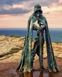 Bronze sculpture by Rubin Eynon, inspired by the legend of King Arthur, Tintagel, Cornwall