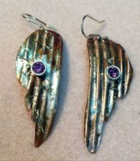 angel wing and amethyst earrings