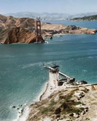 Construction of the Golden Gate Bridge in San Francisco, California. 1934.
