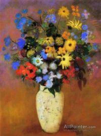Large bouquet in a Japanese Vase - Odilon Redon, artist