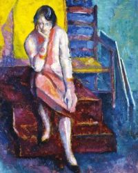 Alfred Wolmark (1877-1961) Seated woman in the studio